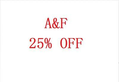 AF A&F Abercrombie & Fitch 25% OFF Discount Promo Code (*SALE & CLEARANCE*)