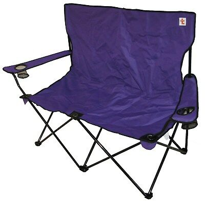 PURPLE FREE DELIVERY DOUBLE FOLDING CAMPING CHAIR BIG STRONG
