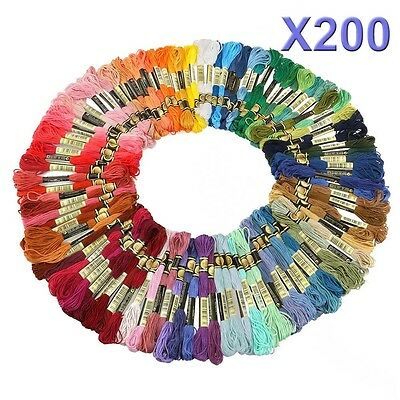 200 X Mix Colors Cross Stitch Cotton Sewing Skeins Embroidery Thread Floss Kit