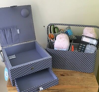 SEWING BASKET & CRAFT CADDY SET  Grey Spot Design SUPER QUALITY