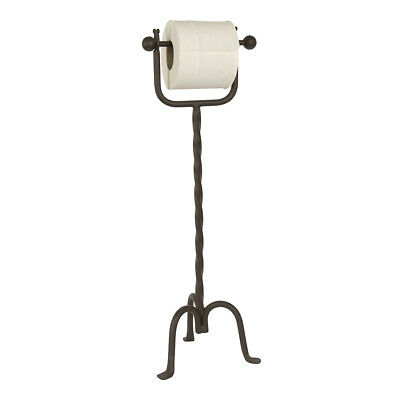Vintage Antique Brown Iron Bathroom Free Standing Toilet Roll Paper Holder Stand