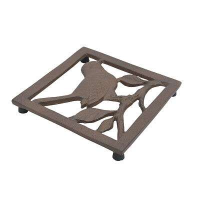 French Country Antique Brown Cast Iron Square Bird Pot Pan Guard Trivet