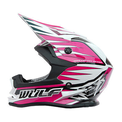 Kids Childrens Quad Wulfsport MX Motorcross ACU Gold Advance Helmet Pink T