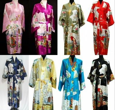 Chinese satin Nightgown Geisha Vintage Kimono long Robe Fashion Nightwear Dress#