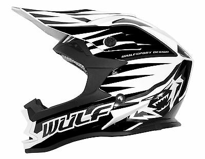 Kids Childrens Quad Wulf Wulfsport MX Motorcross NEW Advance Helmet Black/WhiteT