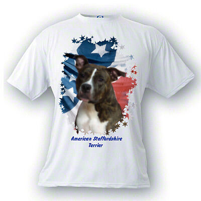 American Staffordshire Terrie brindle uncrop PERSONALIZED Stars & Stripes Tshirt