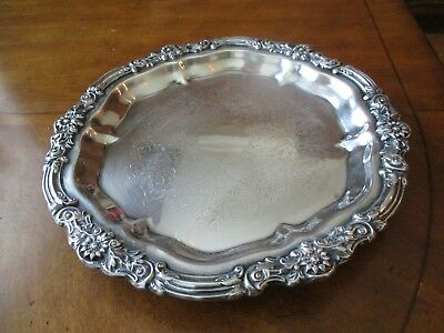 """Large Vintage Heavy Silverplate Footed Round Drink / Food Tray 14.25"""" Across"""