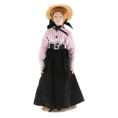 1:12th Porcelain Doll Victorian Lady in Black Dress Dolls House Decoration