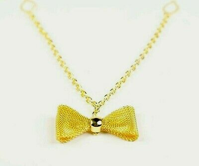 Small Gold Mesh Bow Charm Necklet with Chain Connector - Fashion Accessory Craft