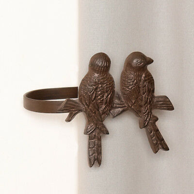 Set of 2 Antique Cast Iron Perched Birds Metal Curtain Hold Back Tie Back Hooks
