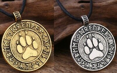Silver Gold Rune Wolf Paw Pendant Necklace Ladies Mens Viking Norse Fenir Amulet