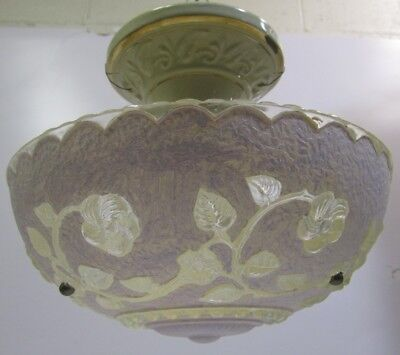 Antique Vtg Porcelier Ceiling Light Fixture Purple Floral Frosted Glass Shade