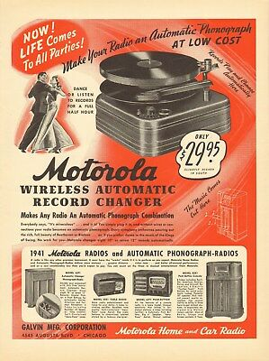Vintage 1940 MOTOROLA Automatic Phonograph Record Player Print Ad