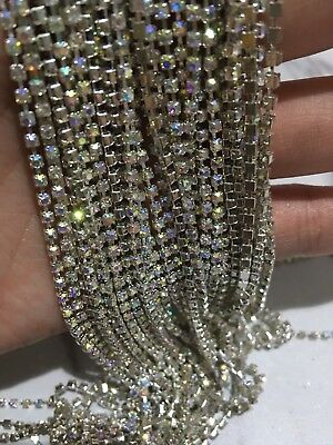 1 Meter AB clear crystal rhinestone encased in Silver metal chain trim 2.3mm DIY