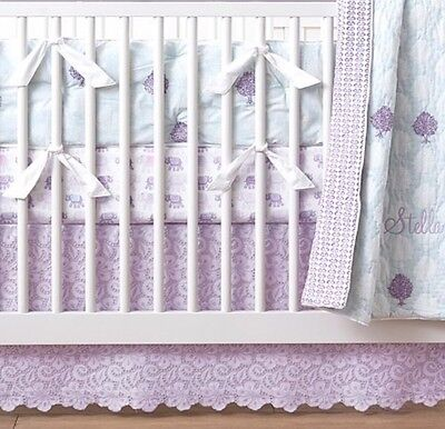 "Pottery Barn Kids  ""Stella"" Lace Purple Crib Skirt"