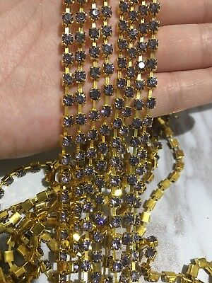 1 Meter Purple Grey crystal rhinestone encased Gold metal chain trim 3.7mm DIY