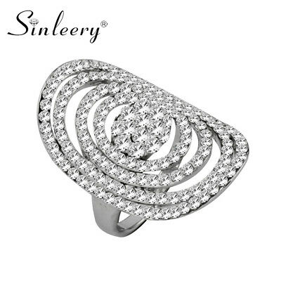Hollow Round White Gold Plated Full Cubic Zirconia Rings Fashion Jewelry Party