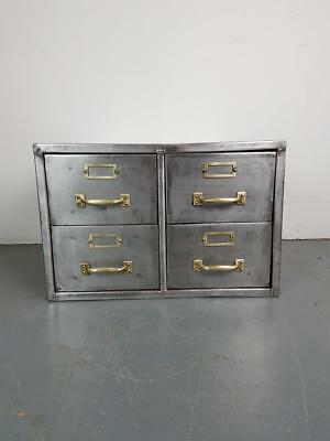 Vintage Industrial Stripped Steel 4 Drawer Filing Cabinet #2275