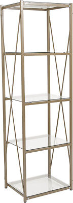 Contemporary Stylish Tempered Glass Storage Shelf with Matte Gold Frame