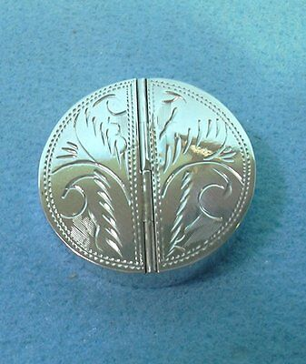 Twin compartment , Circular Silver Pill / Trinket Box  Hall Mark Stamp on Bottom