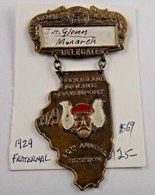 1929 40th Annual Session Supreme Council MOVPER Fraternal Pin Medal S. D. Childs
