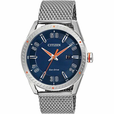 Citizen Eco-Drive CTO Men's Blue Dial Mesh Bracelet 42mm Watch BM6990-55L
