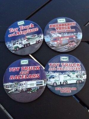 Lot Of 4 Hess Fire Truck Race Car/Helicopter Pin Back Button in New Condition