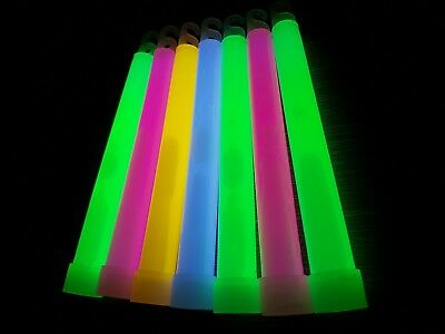 """25x 6 inch 1.5cm Thick Glow Sticks - Single or Mixed Colour 6"""" 15mm Glowsticks"""
