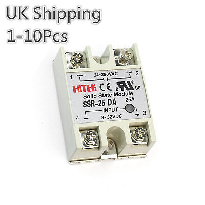 SSR-25DA Solid State Relay 24-380VAC 3-32VDC DC Input AC Output UK Shipping