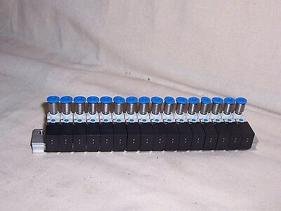 FESTO Manifold block with 16 valves 197017 fittings for tube 3 NEW