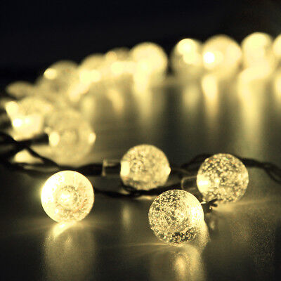 30 LED Solar Warm White Crystal Ball String Light Outdoor Patio Party Xmas Lamp