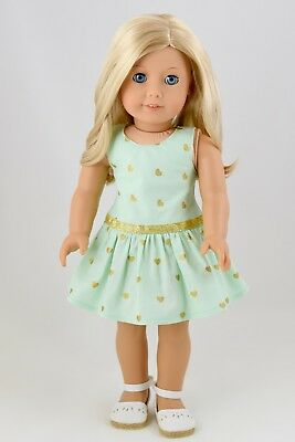 Summer Dress Mint / Gold Heart American Made Doll Clothes For 18 Inch Girl Dolls