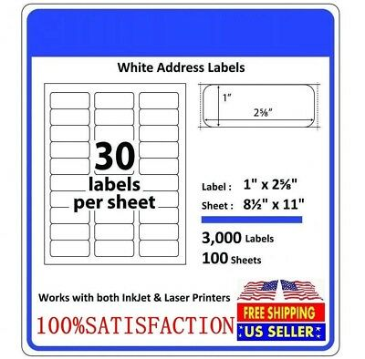 Address Labels Amazon FBA Labels Laser  Adhesive Labels 30 per sheet 1 x 2 5/8