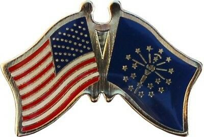Wholesale Pack of 6 USA & Indiana State Friendship Flag Bike Hat Cap lapel Pin