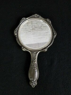 Antique Empire Art Silver Repousee Vanity Hand Mirror C.1900 Floral Monogrammed