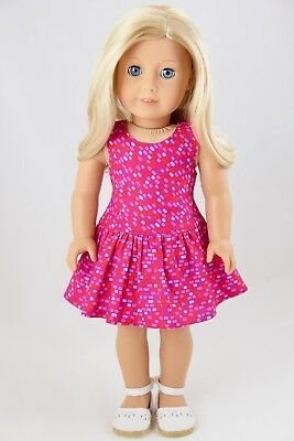Summer Dress Pink / Multi American Made Doll Clothes For 18 Inch Girl Dolls