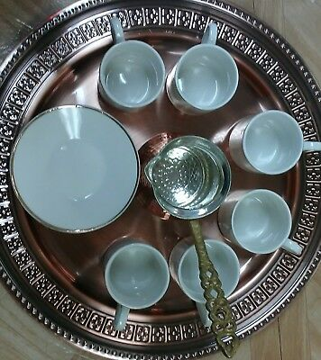 Turkish Greek Arabic Coffee  Guest Serving 6Cup 6Saucer 1try 1coffee maker Set.