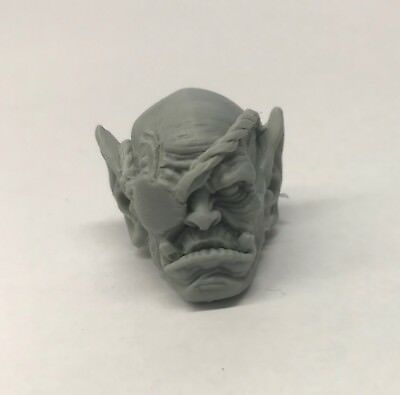 Custom modded Orc head hand-sculpted Fits Mythic Legion neck-post #5