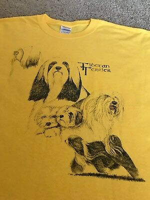 Tibetan Terrier Dog on GILDAN Brand Heavy Cotton Yellow XL T-Shirt