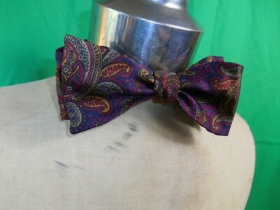 Vintage Adjustable Pure Silk Hardy Amies Purple Maroon Paisley Butterfly Bow Tie
