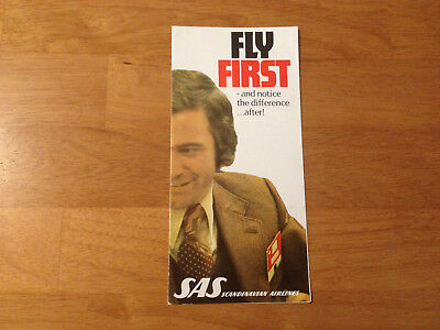 Vintage SAS Scandinavian Airlines Fly First Class Brochure Aviation Collectible