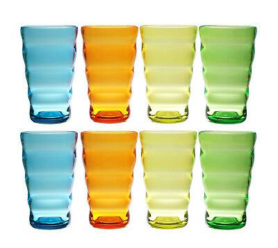 QG Set of 8 Acrylic Plastic 25 oz Wavy Shape Glass Iced Tea Cup Tumbler 4 Colors