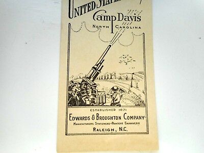 WW ll Army Camp Davis North Carolina ink blotter artillery photo postcard nice
