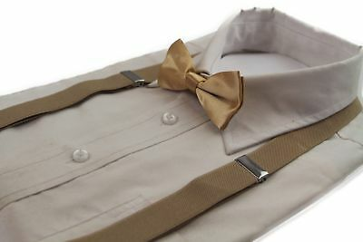 Boys Gold Matching Bow Tie + Suspender Set Latte Kids Unisex Dress Up Cream New