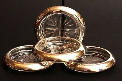 Vintage Set of 4 Rogers Silver Co. Sterling Silver Coasters ~ Heavy