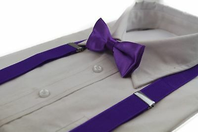 Boys Purple Matching Bow Tie + Suspender Set Kids Unisex Dress Up Wedding Page