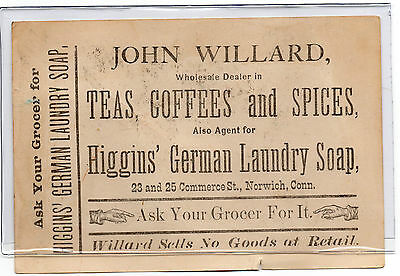 John Willard,Agent for Higgins' German Laundry Soap Trade Card