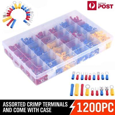 1200x Assorted Insulated Electrical Wire Terminal Crimp Connector Spade Set IB