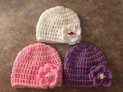 Crochet Hat Set newborn - 3 month baby Girl Flower Roses Photo Prop Shower Gift