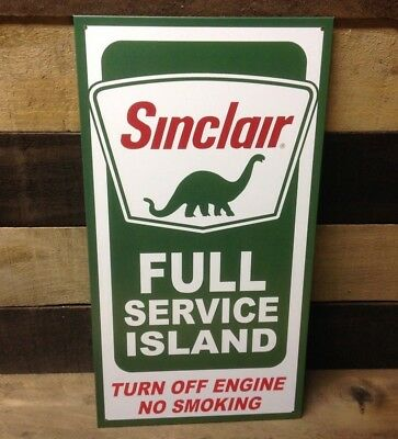 Sinclair Full Service Island Gas Sign Tin Vintage Garage Bar Decor Old Rustic